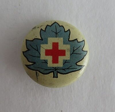 Vintage Red Cross With Blue Leaf Pin Pinback Button   (Inv2069)