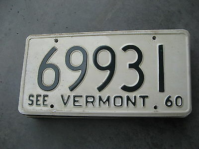 1960 60 Vermont Vt License Plate Tag 69931 Lee Roy Hartung Collection