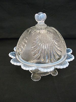 Mosser Glass French opalescent shell pattern covered dish