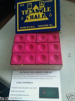 Terrific Red Shade Triangle Quality Billiard & Pool Cue Tip Chalk Box Of 12 Pces