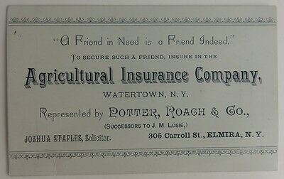 1883 Agricultural Insurance Company Watertown New York Trade Card   (Inv1734)