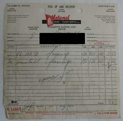 1954 National Brake And Clutch Service Receipt                (Inv4472)