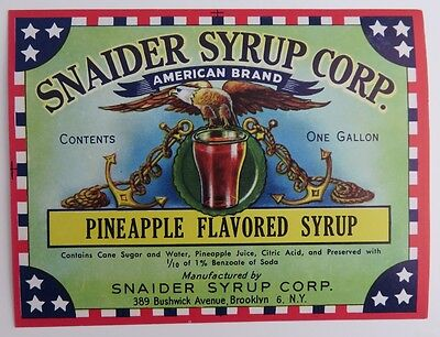 Snaider Brooklyn Ny Pineapple Flavored Syrup Unused Label  (Inv1483)
