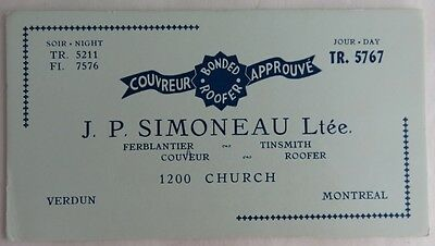 Vintage French Montreal Tinsmith Roofer Blotter Trade Card    (Inv2691)