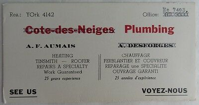 Vintage French Plumbing Tinsmith Roofer Blotter Trade Card    (Inv2706)