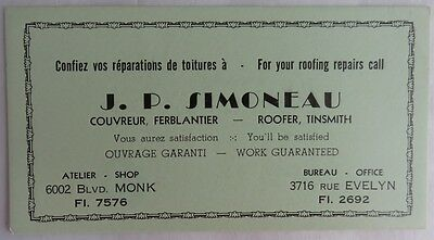 Vintage French Roofer Tinsmith Blotter Trade Card    (Inv2703)