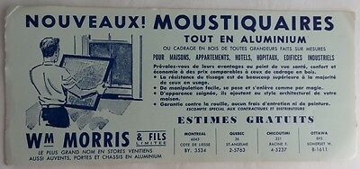 Vintage French Window Screen Manufacturer Blotter Trade Card    (Inv2699)