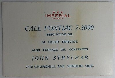 Vintage Imperial Esso Stove Oil Advertising Blotter Trade Card     (Inv2523)