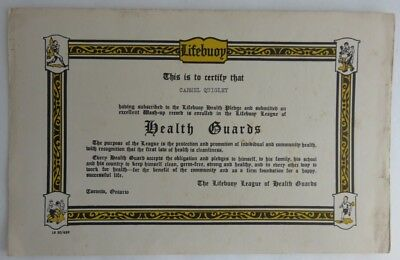 Vintage Lifebuoy Soap League Of Health Guards Certificate     (Inv3467)
