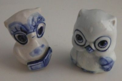 (2) Blue And White Ceramic Owl Figures