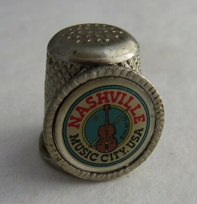 Vintage Metal Nashville Music City Thimble       (Inv2568)