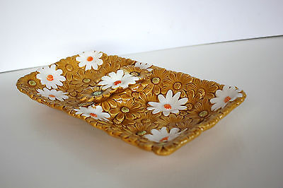 Vintage Retro Fred Roberts Company 3D Daisy Cake Plate Made in Japan As Found
