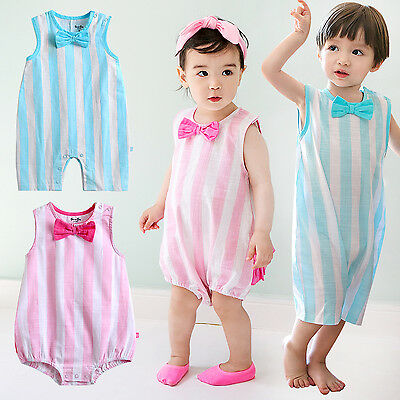 "Vaenait Baby Girls Boys Ramie Clothes Sleeveless Bodysuit ""Bobo ribbon"" 0-24M"