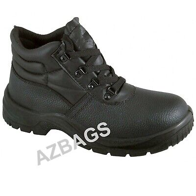 Mens Black Safety Work Boots Leather Steel Toe Cap & Midsole Size 3 to 13 - BKS