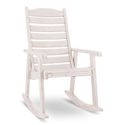 Relaxing Rocking Chair Wooden Garden Terrace Balcony Weatherproof White Recliner