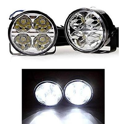 2 x 70mm Round 6000K LED DRL Daytime Running Lights Spot Lamps - Toyota Avensis