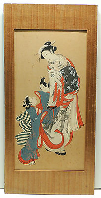 Antique Mystery Japanese Meiji Period Painting of Geishas Watercolor on Board