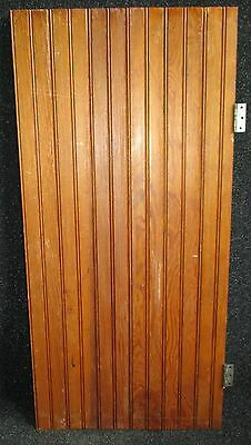 ANTIQUE BEAD BOARD FIR CABINET CUPBOARD DOOR w/ HINGES + LATCH 19 1/4 X 40 1/4