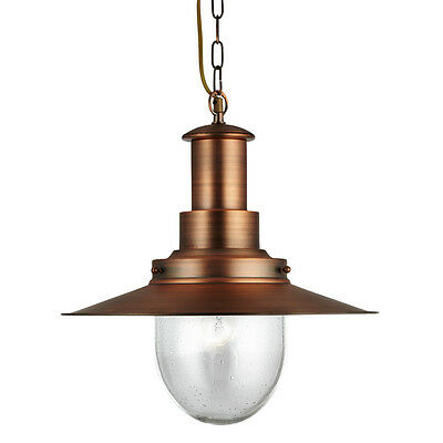 Searchlight 5301cu FISHERMAN Copper Pendant Light/Oval Seeded Glass Shade