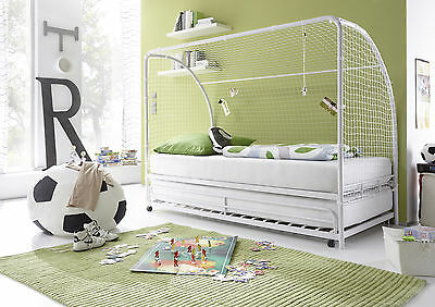 fussballbett goal wei bettgestell bett kinderbett fu ballbett 90x200 eur 219 00. Black Bedroom Furniture Sets. Home Design Ideas