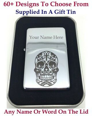 Personalised Engraved lighter, Silver Chrome Colour + Gift Tin.72 Design choices