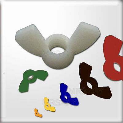 NYLON Nuts Plastic Wing Nuts CHOOSE A COLOUR & Size Nylon serrated nut