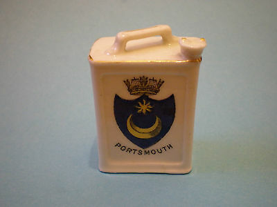 Crested China 2 Gallon Petrol Can, Portsmouth, 2 Gallon Motor Spirit, Very Rare