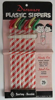 Vintage Gpl Duraware Plastic Sippers Set Of 6 In Package   (Inv1148)