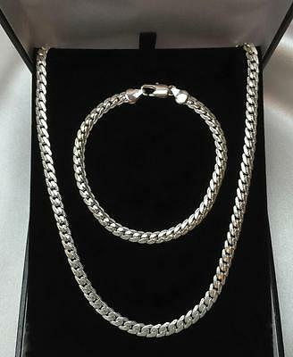 Mens 925 Sterling Silver Bracelet Necklace Jewellery Set SALE!