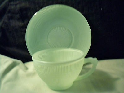 Jadeite Colored Cup And Saucer C1950's Perfect Condition