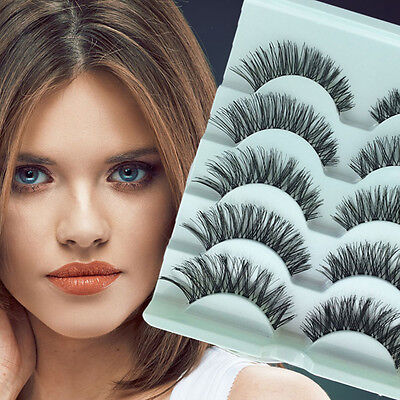 5 Pairs Stunning Makeup Handmade Messy Natural Cross False Eyelashes Eye Lashes~