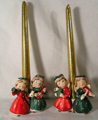 Vintage Japan Christmas Angels & Birds Candle Holders, Commodore Figurines