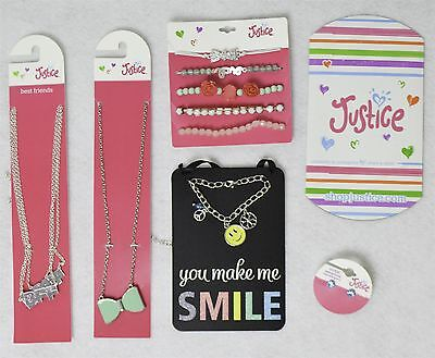 Justice Girls Jewelry Accessory Mixed Lot w/ Charm Bracelet 5 Pieces as Shown