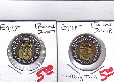 From Show Inv. - 2 UNC. 1 POUND COINS w/ KING TUT from EGYPT (2007 & 2008)