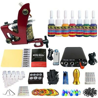 Solong Tattoo Kit de Tatouage 1 Machine à Tatouer Aiguille Encre Complet TK105-8
