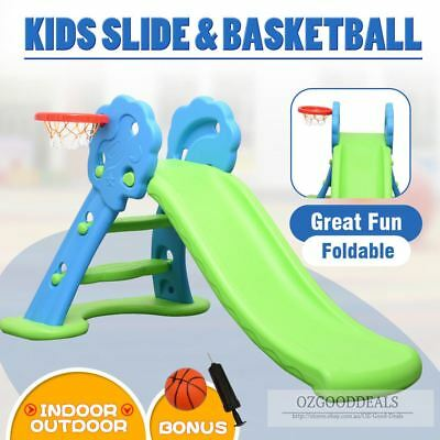 Toddler Kids Foldable Indoor Outdoor Play Activity Slide Basketball Blue Green