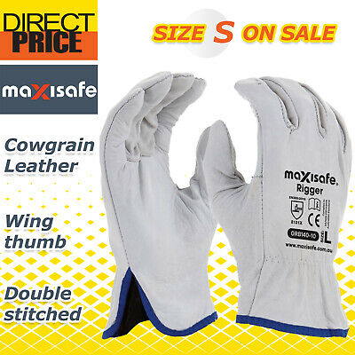 6X Maxisafe Riggers Gloves Premium Cow Grain Leather Soft White General Purpose