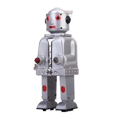 Wind Up Retro Vintage tin toy clockwork walking Robot w/ Light Collectible Gift