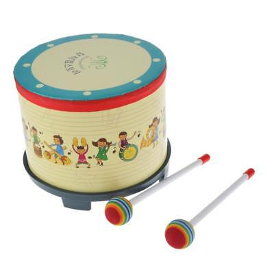 Kids Child Learn Play Percussion Drum w/ Colorful Drumsticks Beat Toy Gift