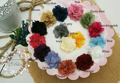 3 SMALL BURLAP fabric flowers 5cm DIY baby headband Embellishment/ Craft