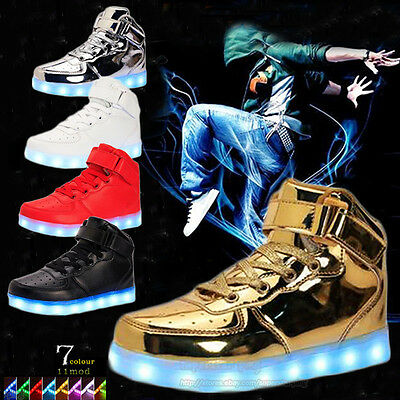 big size Unisex Sneaker Luminous Shoes High Top LED Light Lace Up kids Sport new