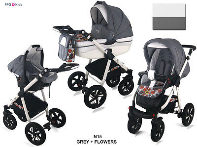 Baby Pram Pushchair Buggy Stroller + Car Seat, Modern Travel System 3in1 - 4in1