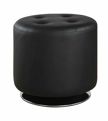 Black Tufted Leatherette Swivel Ottoman with Chrome Base by Coaster 500556