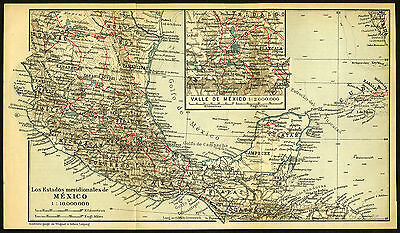Antique Map-MEXICO-Karl Baedeker-Wagner & Debes-1904