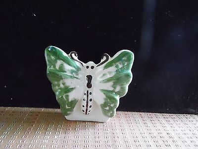 Small Vintage Ceramic  White & Green Butterfly Wall Pocket
