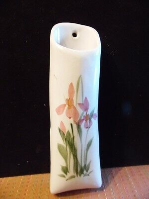 Vintage Art Pottery Hand Painted Pink Floral Wall Pocket