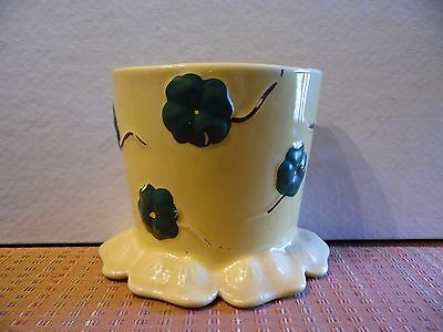 Vintage Art Pottery Pansy Flower Pot Yellow Wall Pocket