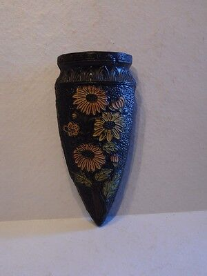 Vintage Pottery Made in Japan Black Tokanabe Floral Wall Pocket