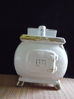 Vintage Ceramic White Gold Pot Belly Stove Wall Pocket