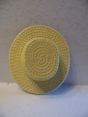 Vintage Yellow Wicker Hat Ceramic Wall Pocket
